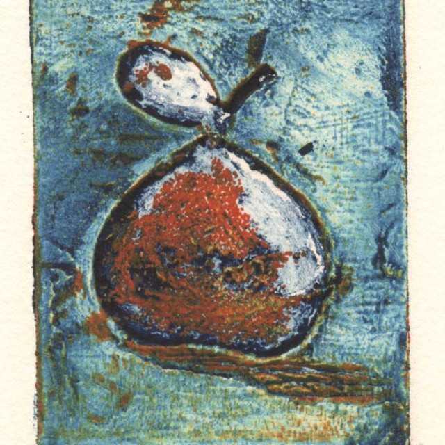 Collagraph print of Perry Pear
